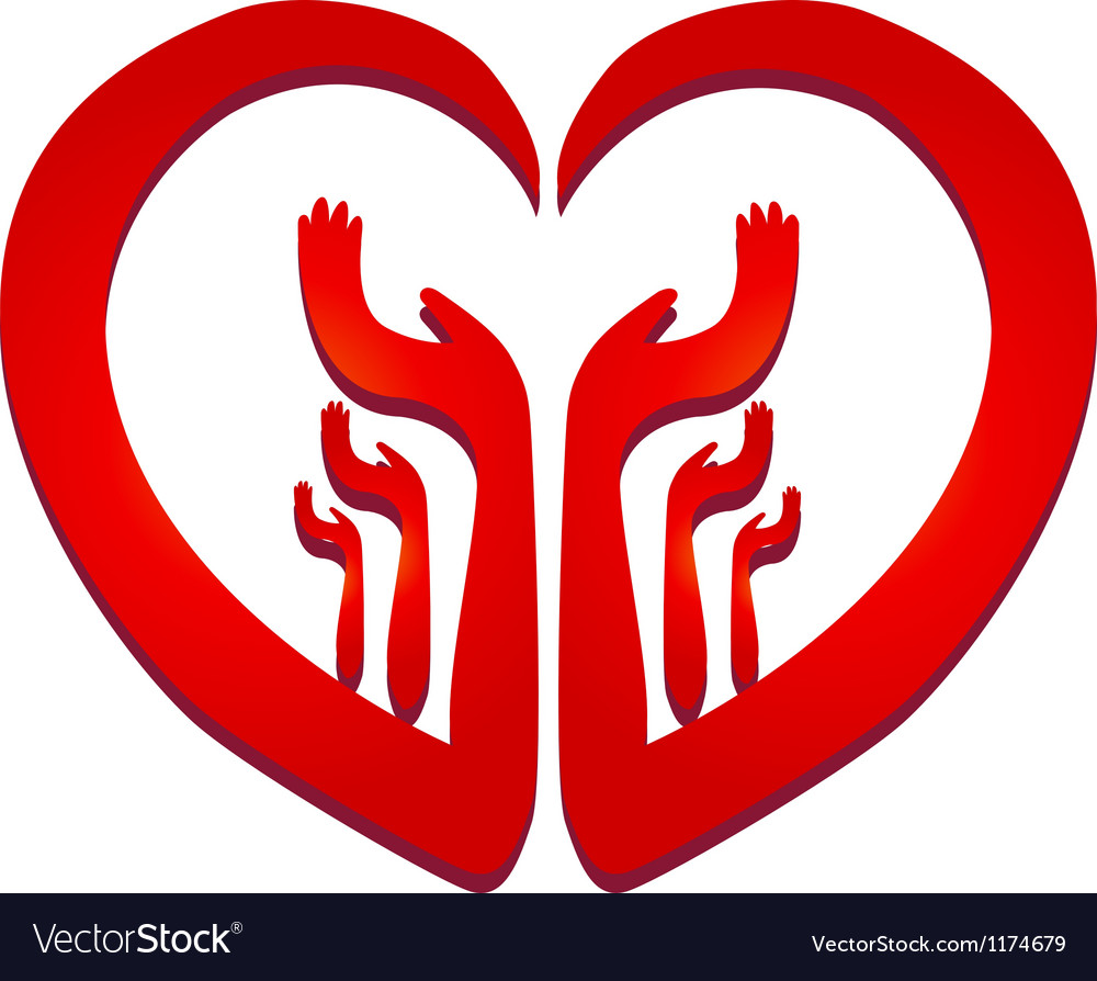 Hands in a heart logo vector image