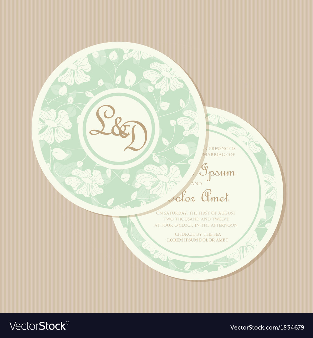 Wedding Invitation Card Round Vector Image