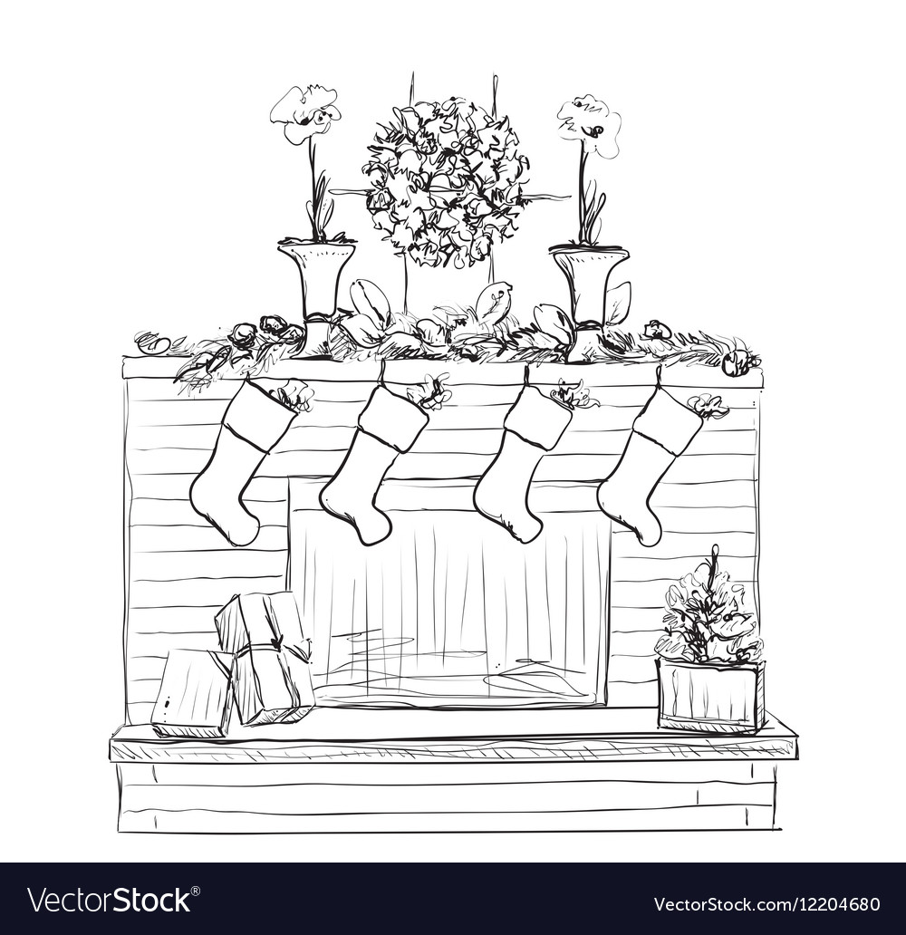 Fireplace with socks and Christmas vector image