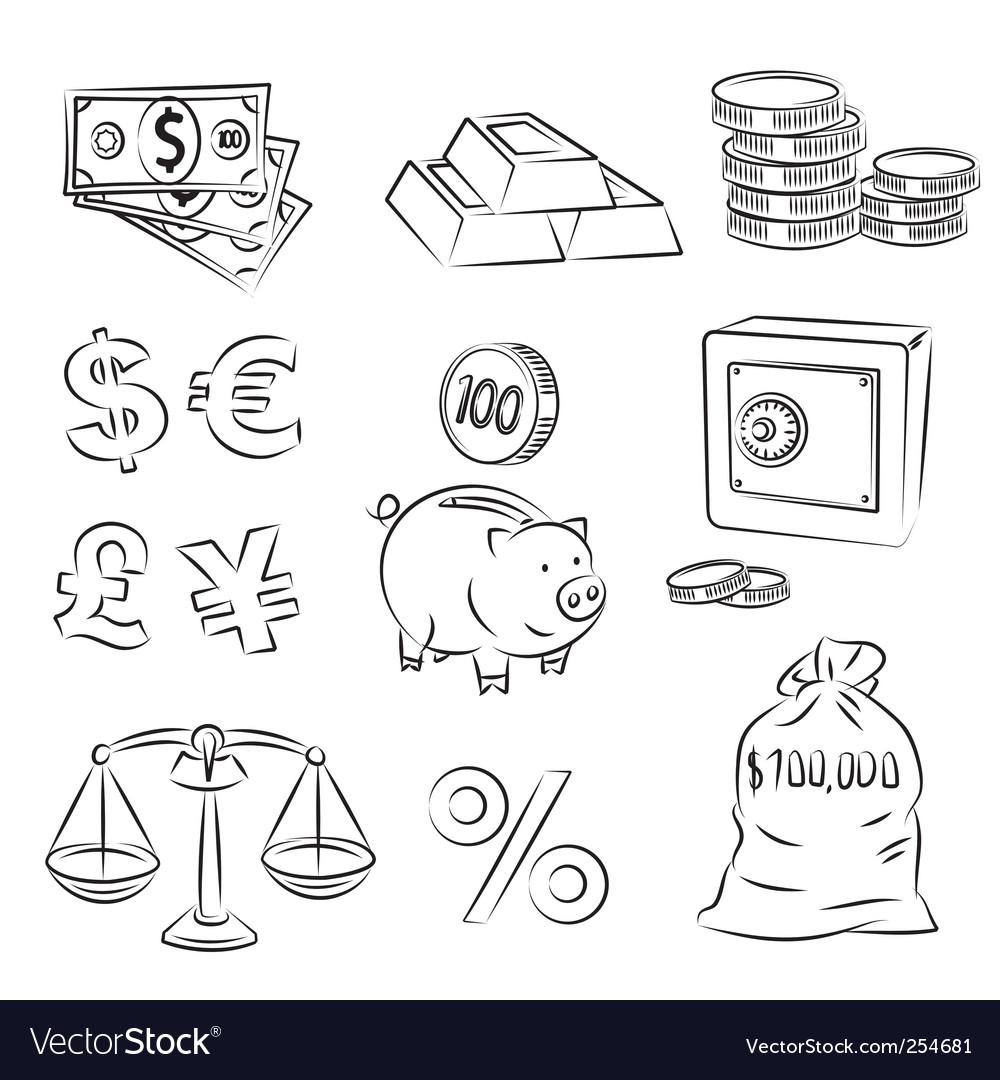 Money sketch set vector image