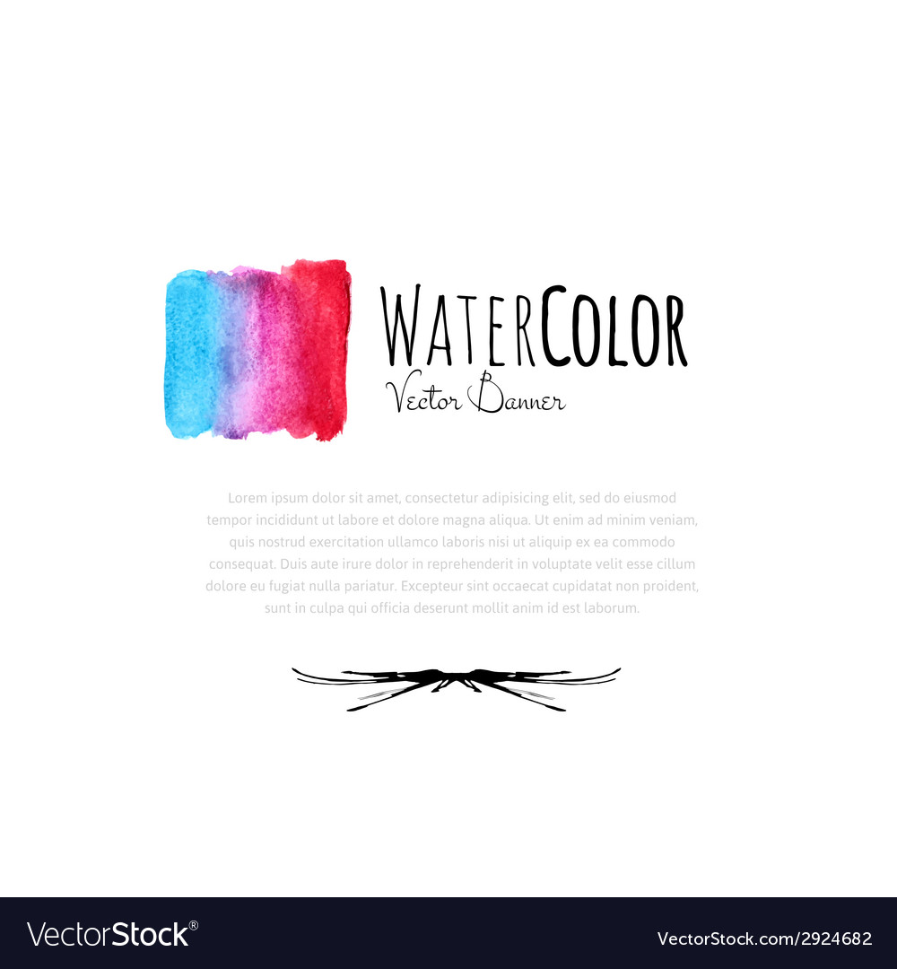 Abstract watercolor card with blue and red color vector image