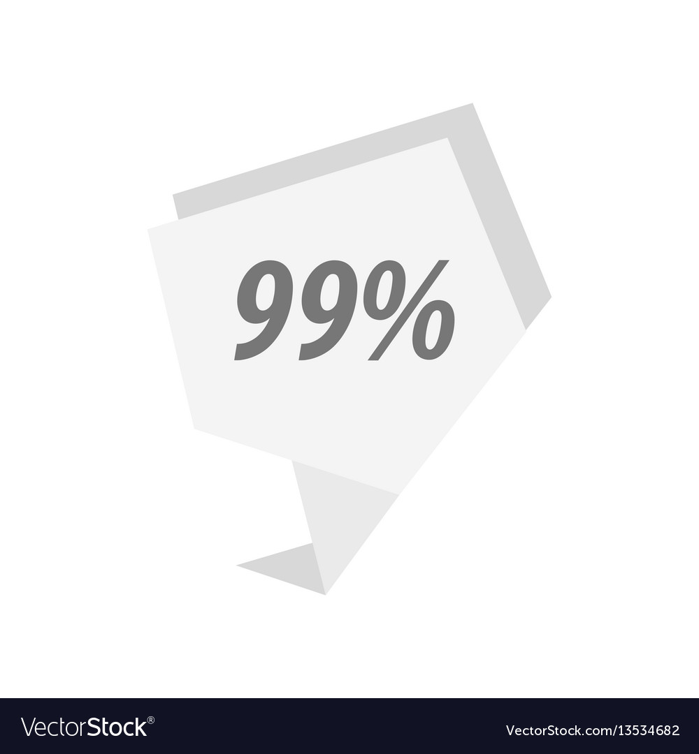 Ninety nine percent label white color vector image