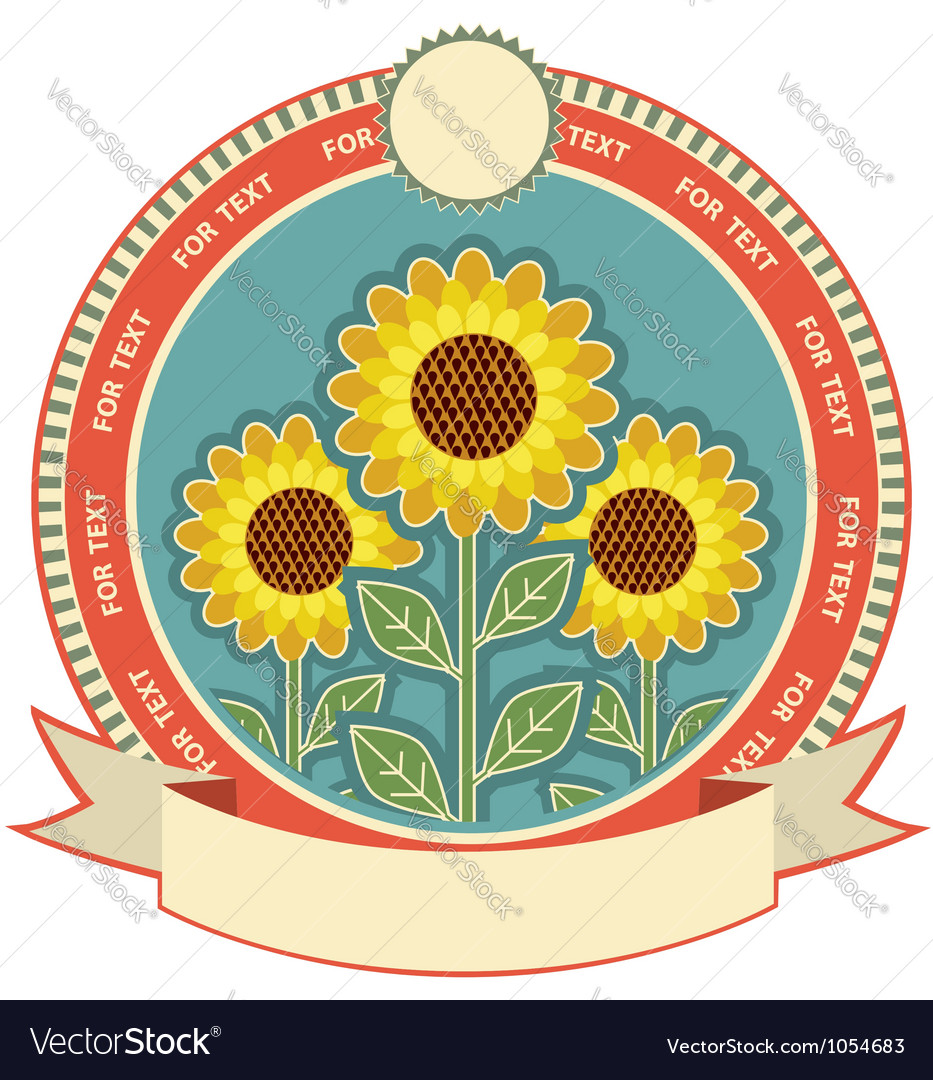 Sunflowers symbol background for text isolated on vector image