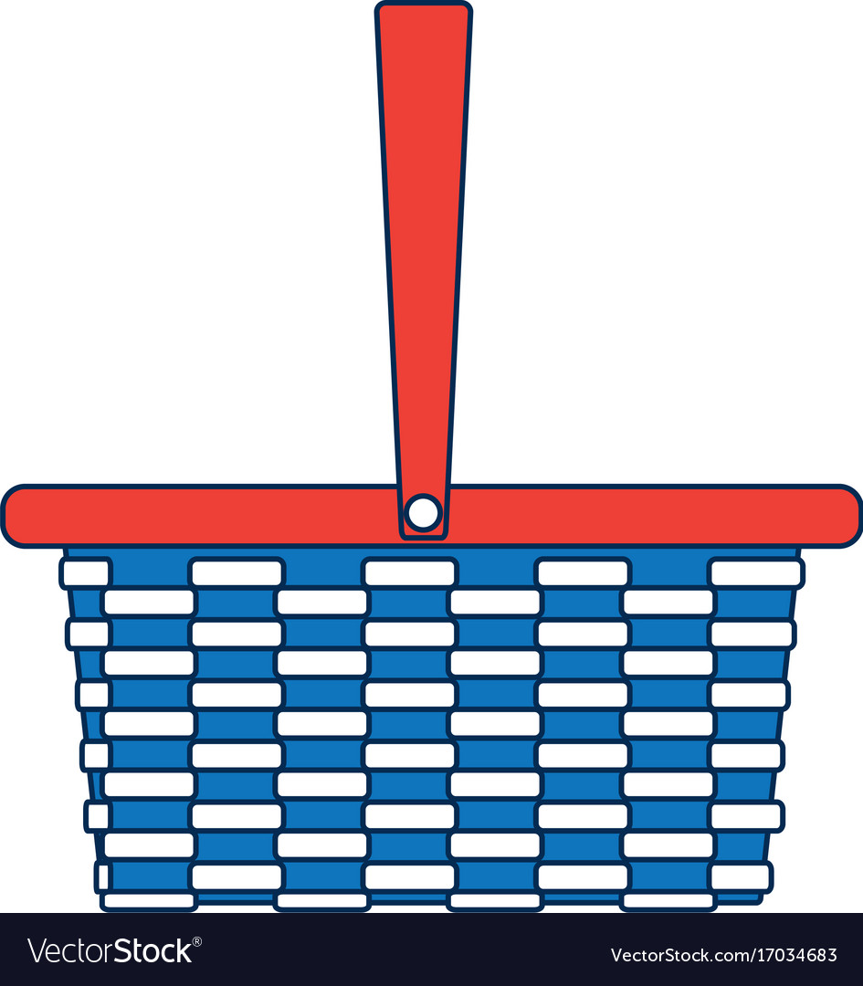Wicker basket camping cartoon icon symbol empty vector image buycottarizona Gallery