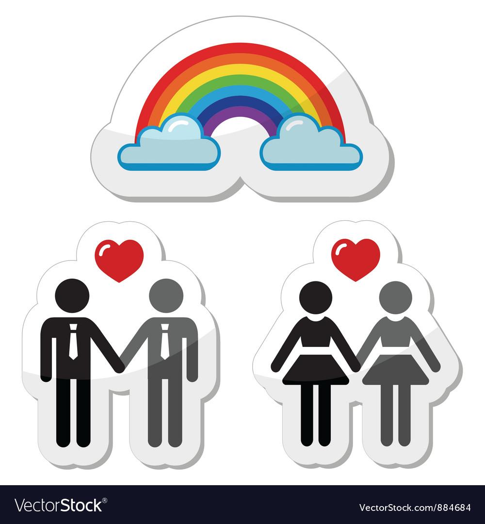 Raibnow gay couples icons Vector Image