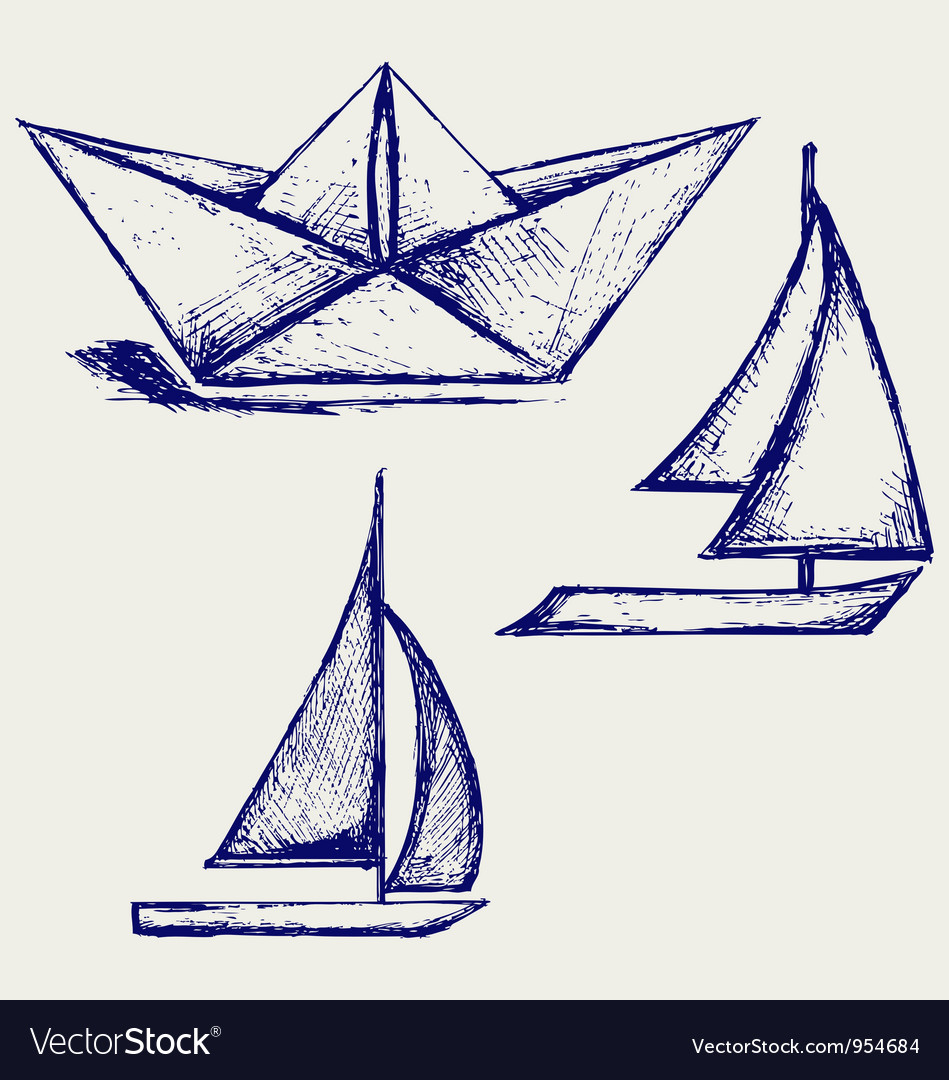 Origami paper ship vector image