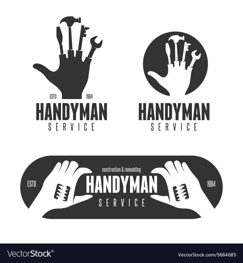 handyman logos emblems badges in vintage style vector image home remodeling logos home remodeling logos
