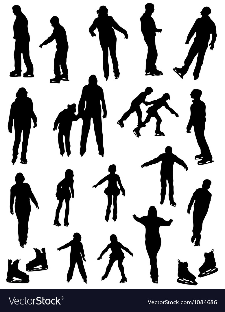 Collection of silhouettes of people on the fads vector image