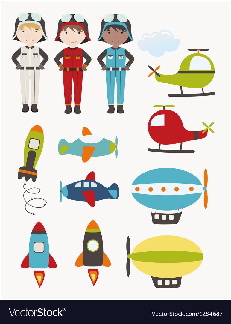 Aircraft set vector image