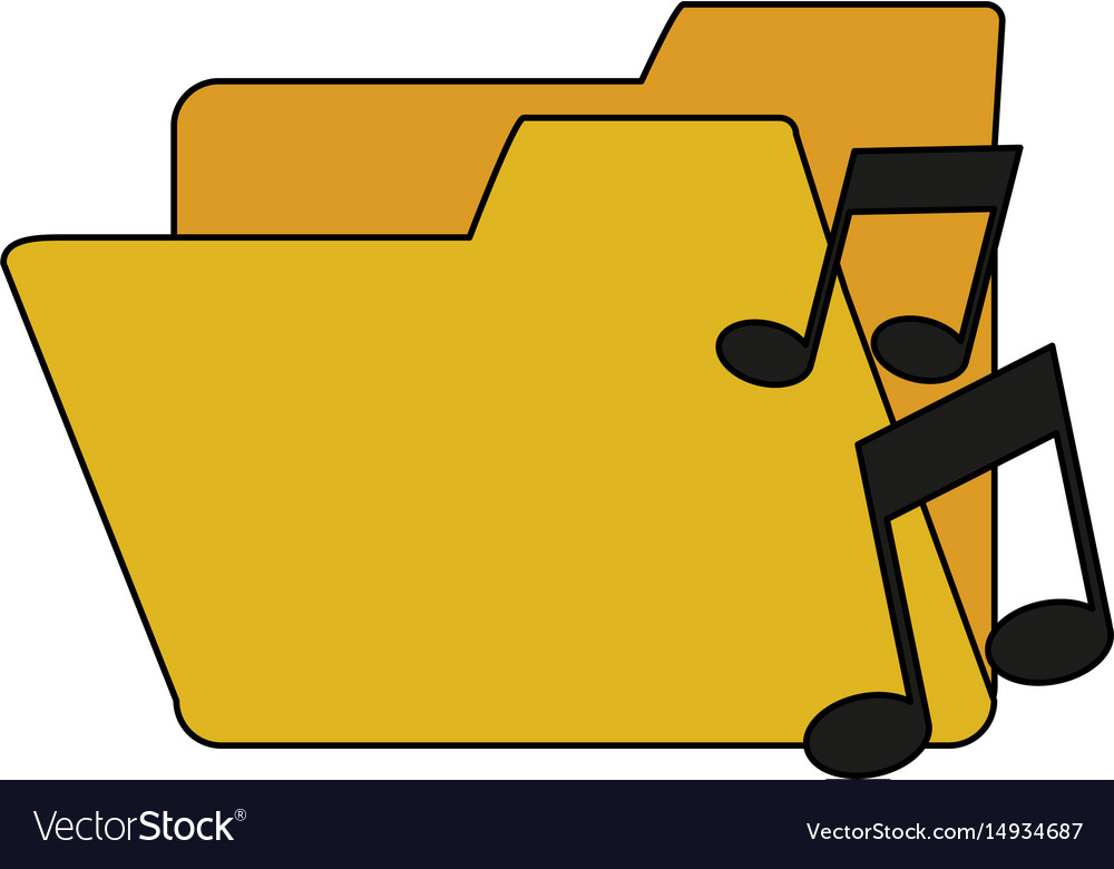 White background with music folder vector image
