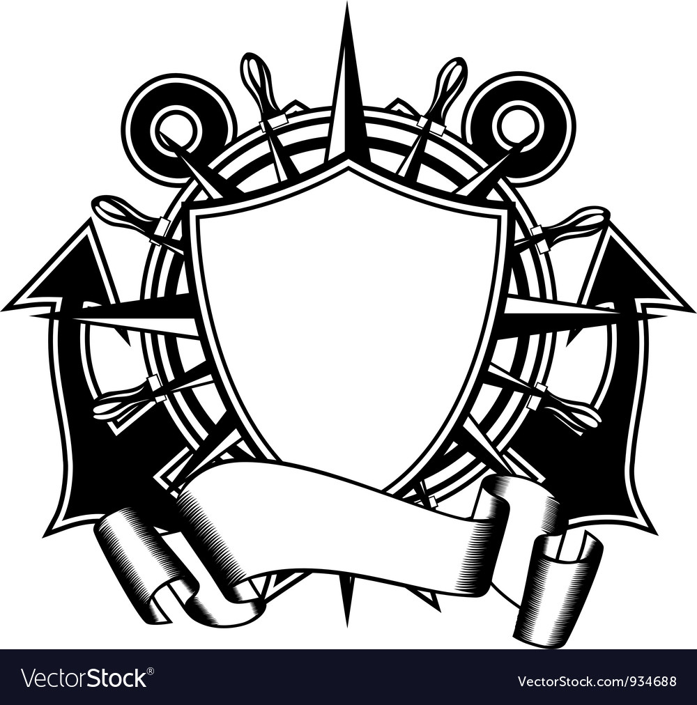 Anchors and steering whell vector image