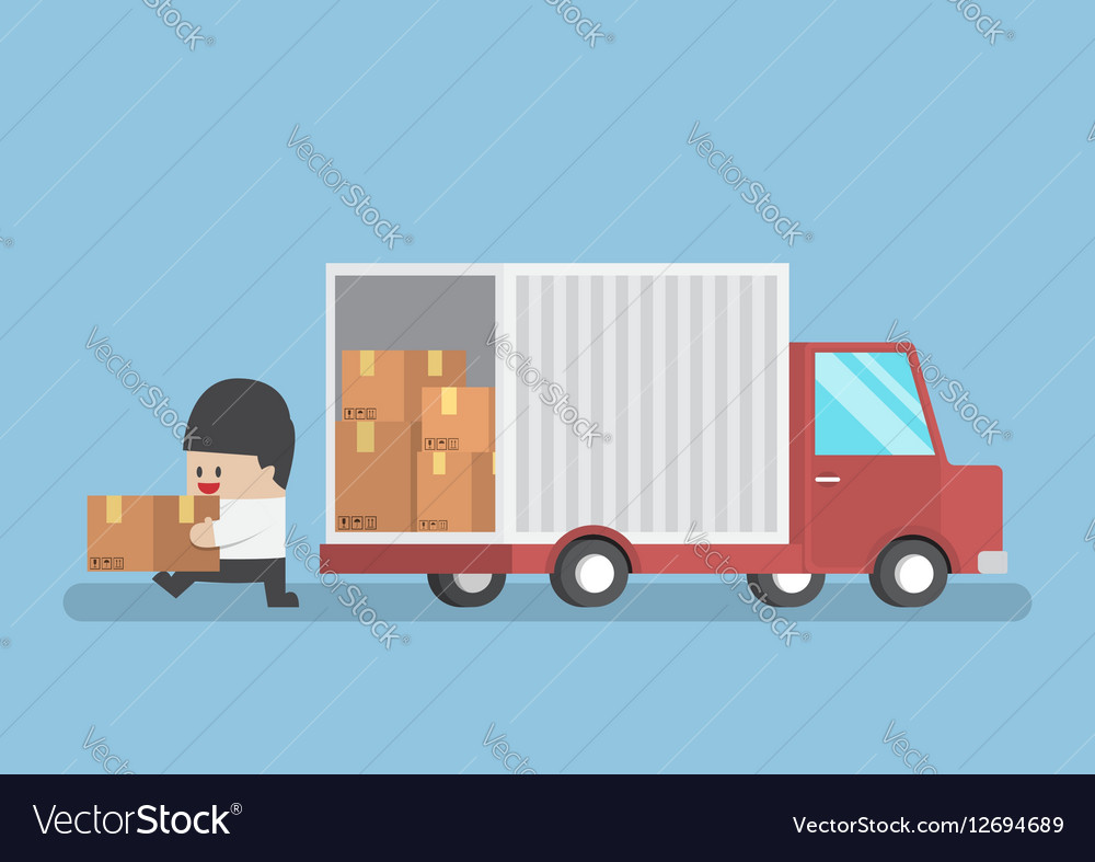 Businessman holding parcel from truck vector image
