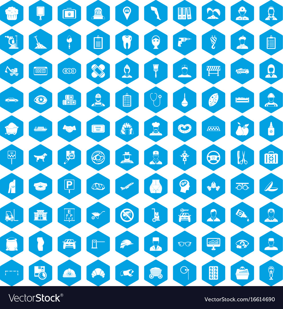 100 favorite work icons set blue vector image