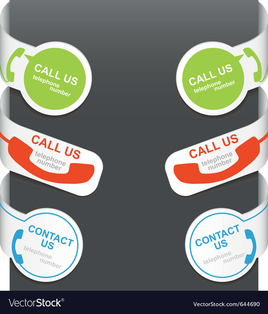 Left and right side signs - contact us and call us vector image
