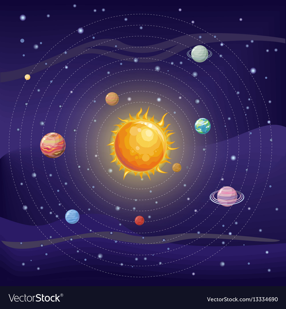 Solar system with sun and planets on orbit vector image