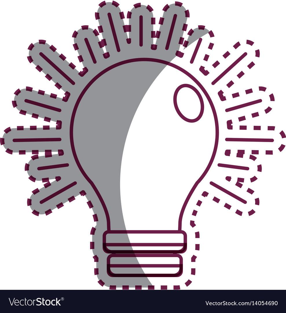 Sticker power light bulb on vector image