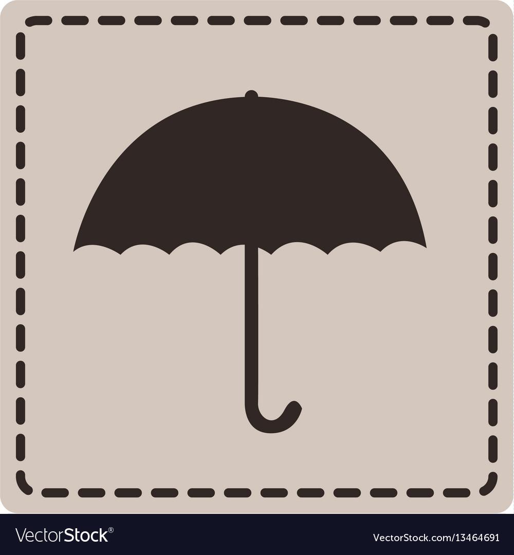 Emblem sticker umbrella icon vector image