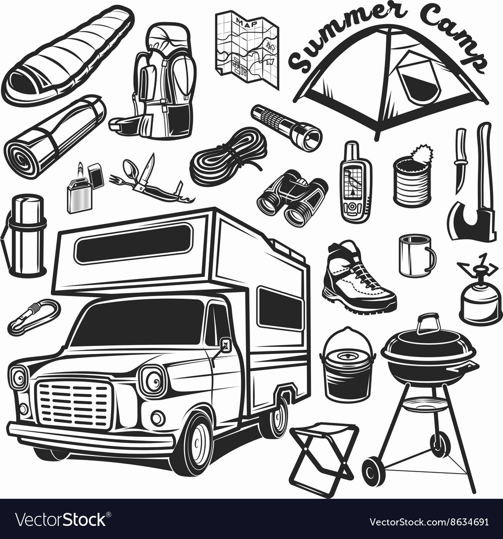 Hiking mountain climbing set and camper car vector image