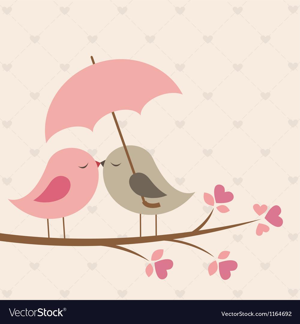 Birds under umbrella vector image