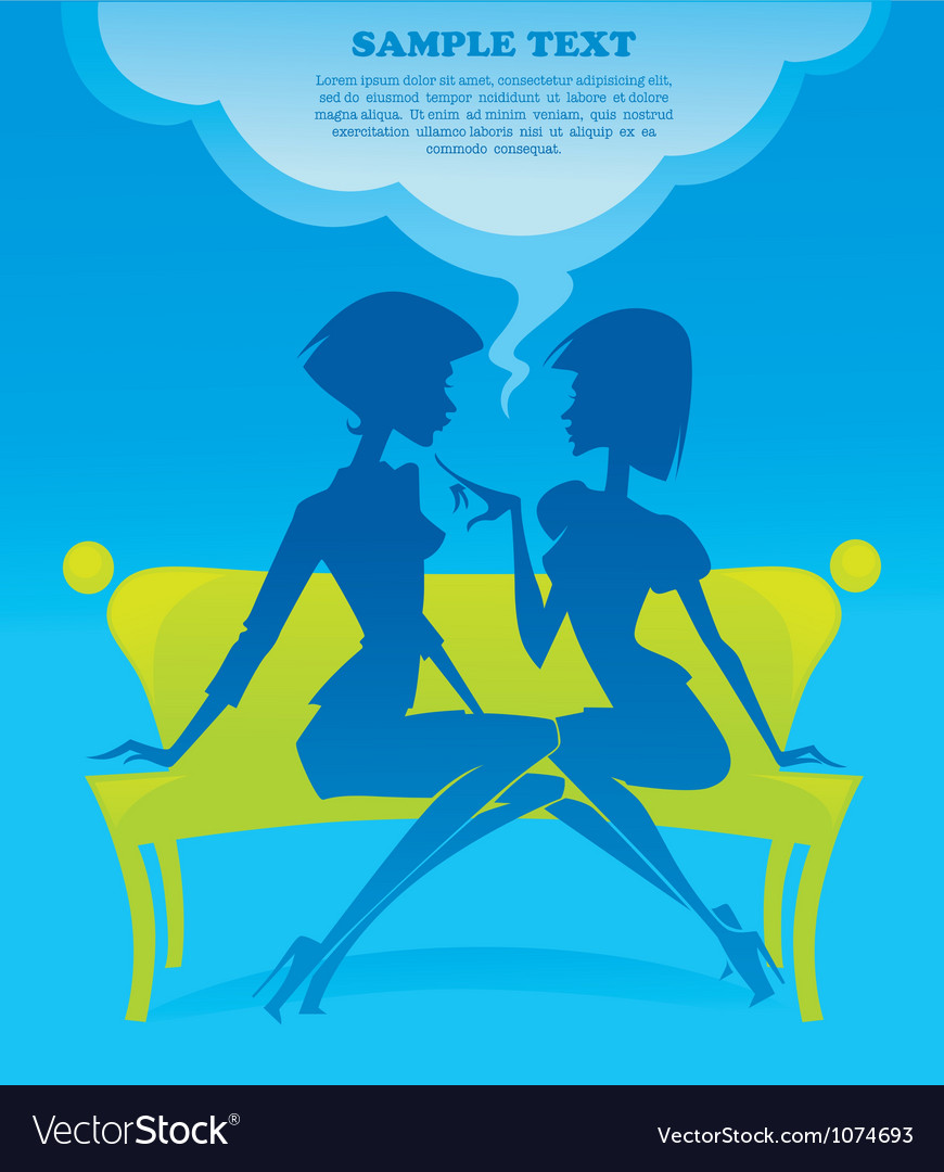 Fashionable chatting girls silhouettes vector image