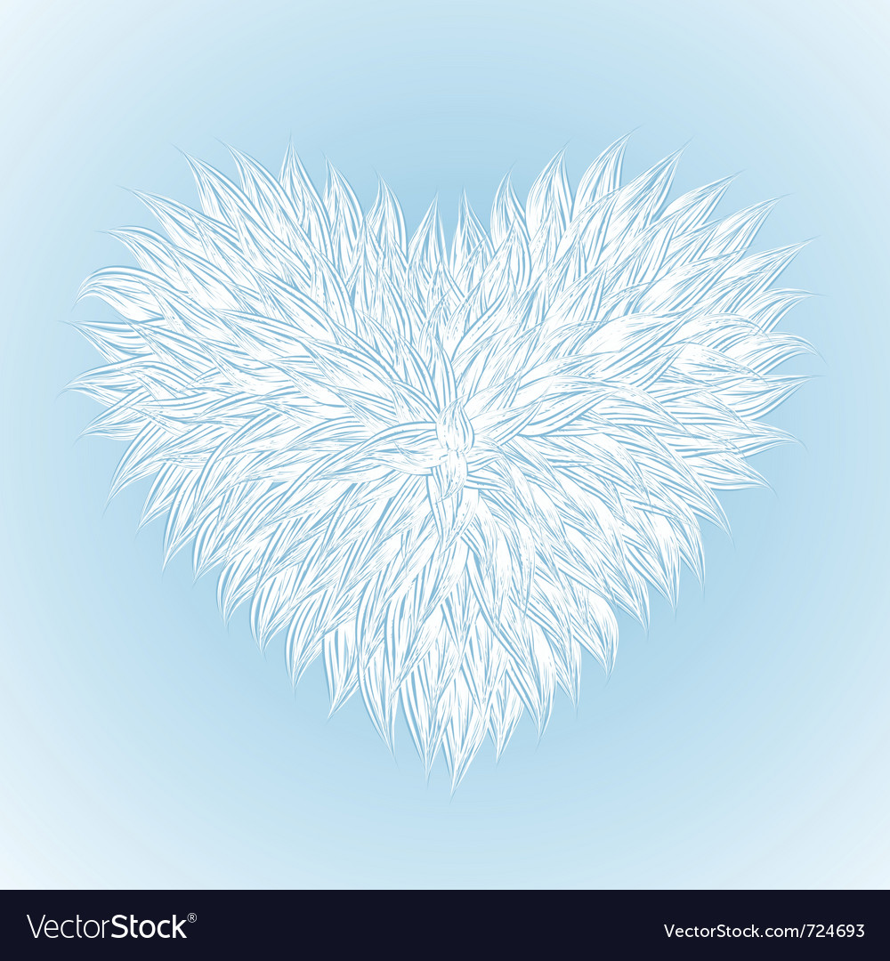 Fluffy white heart vector image