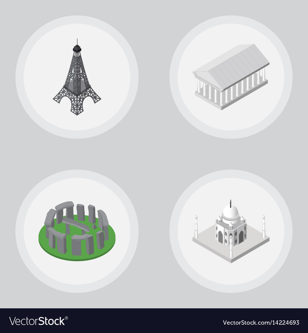 Isometric architecture set of paris england vector image