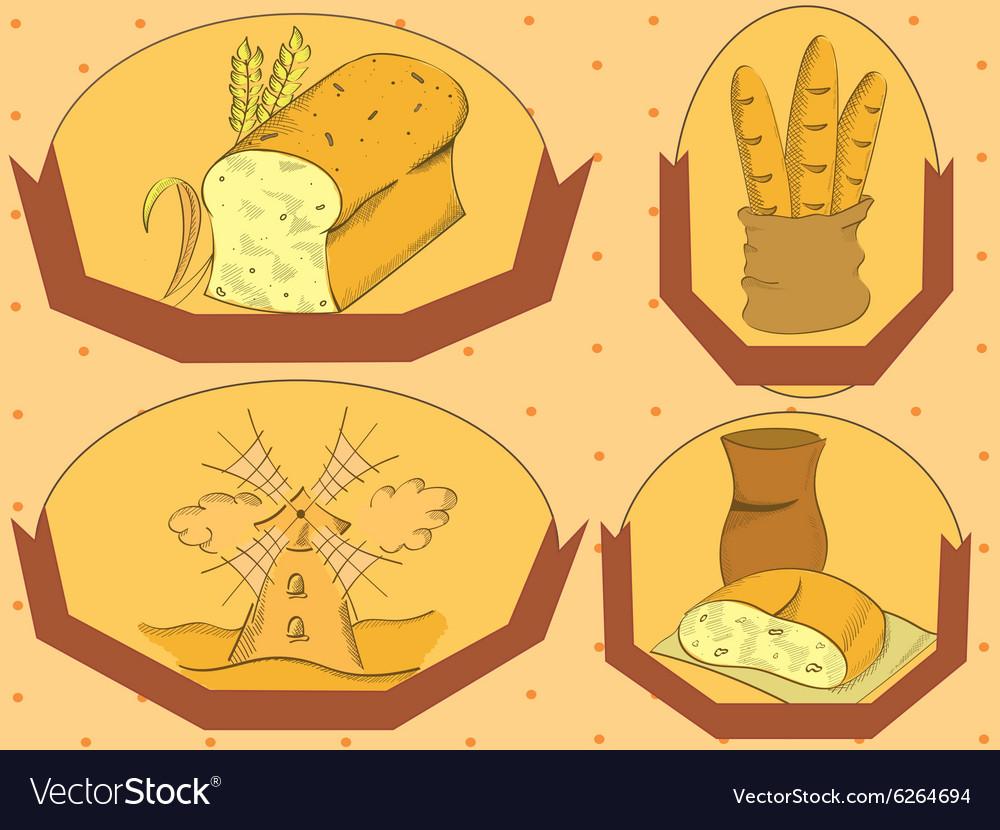 Bread label vector image