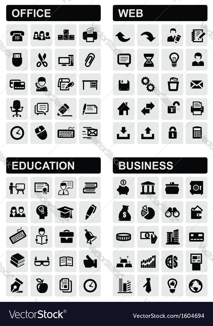 Office web education and business vector image