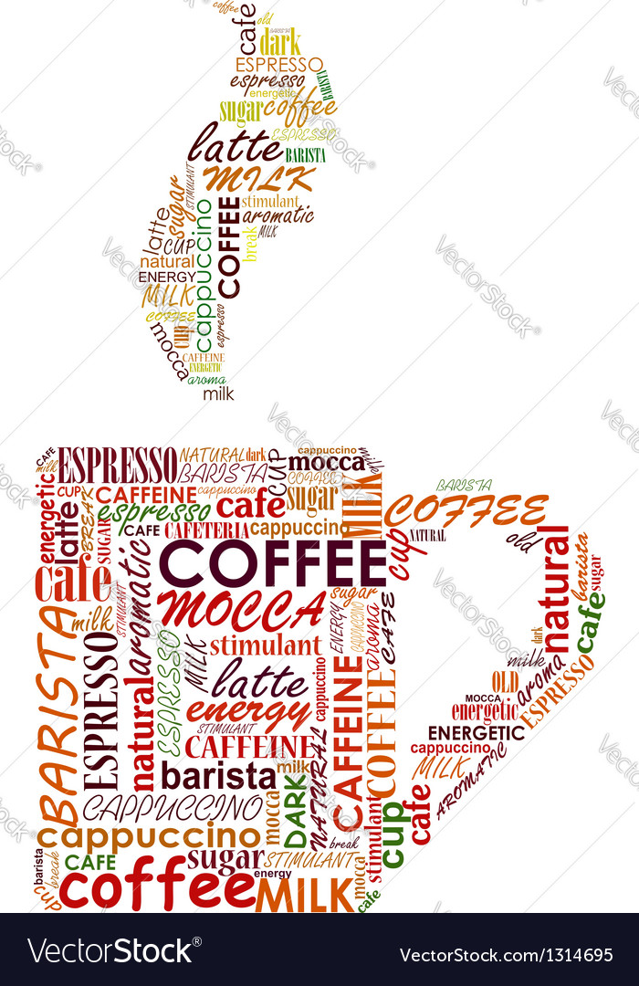 Cup of coffe with tags cloud vector image