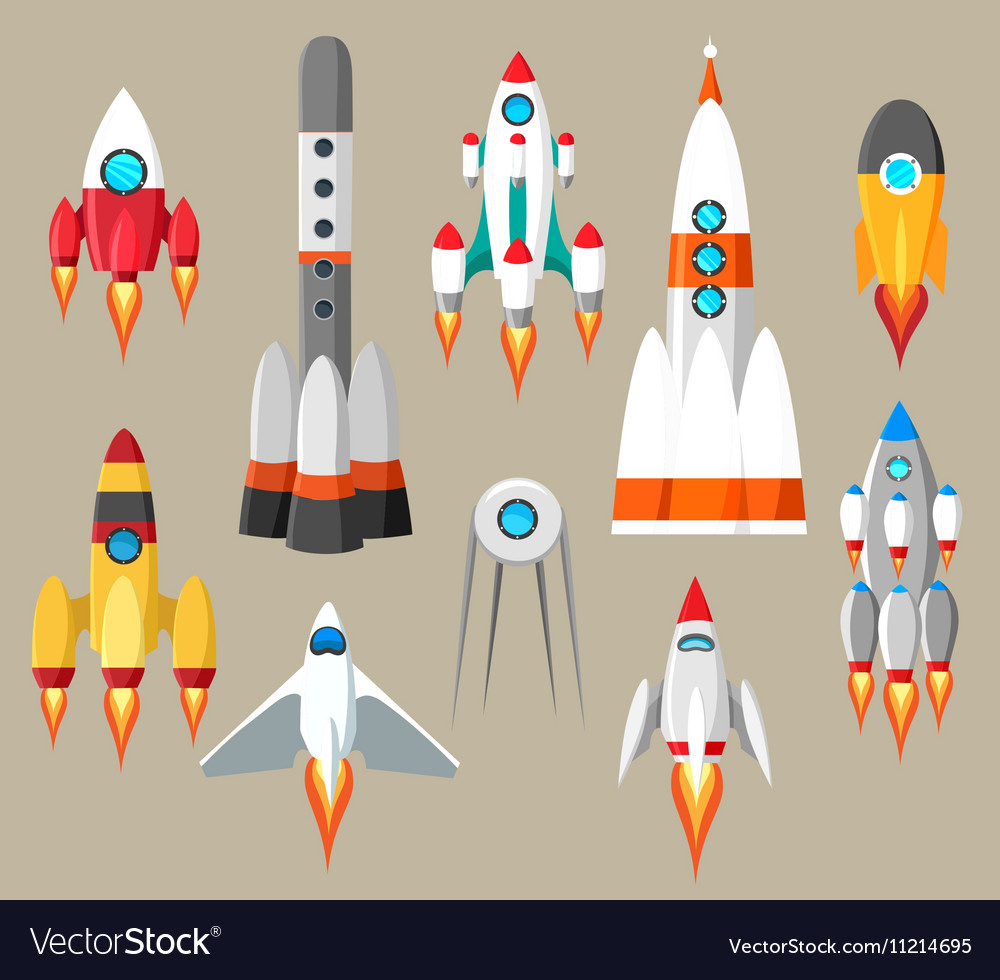 Cartoon rockets icons vector image
