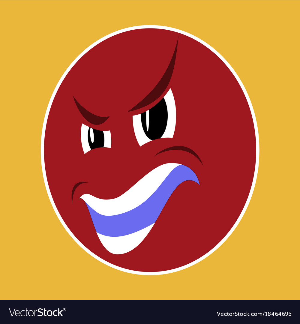 Paper sticker on theme evil emotions face