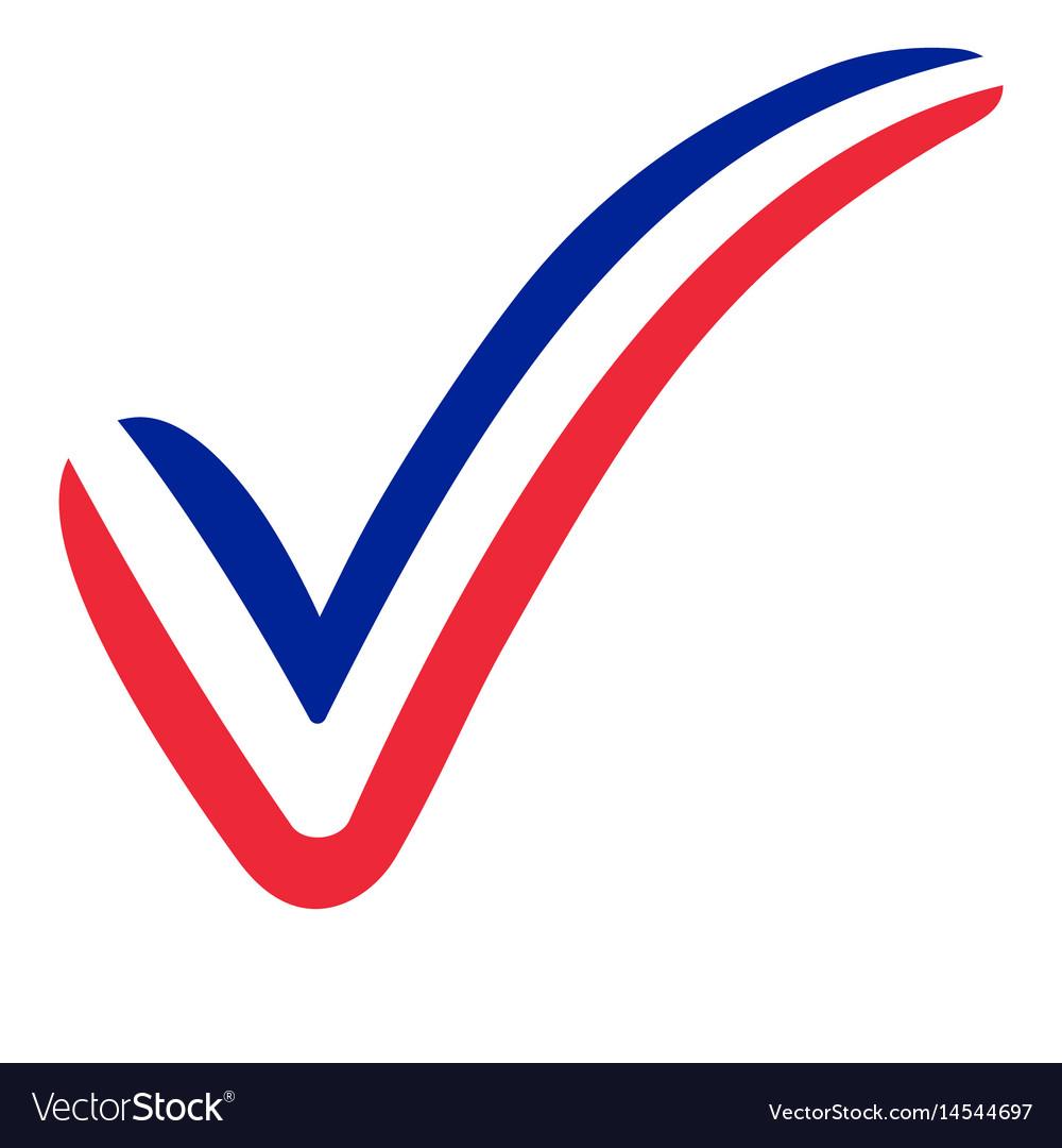 Check mark france flag symbol elections voting vector image
