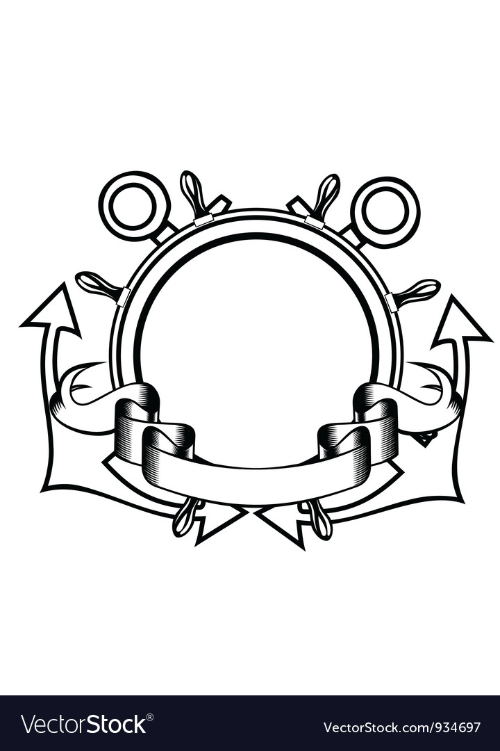 Crossed anchors and steering whell vector image