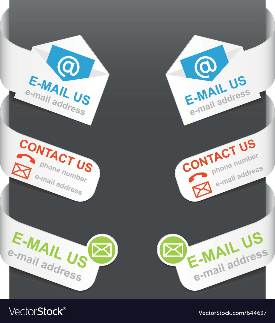Left and right side signs - contact us and e-mail vector image