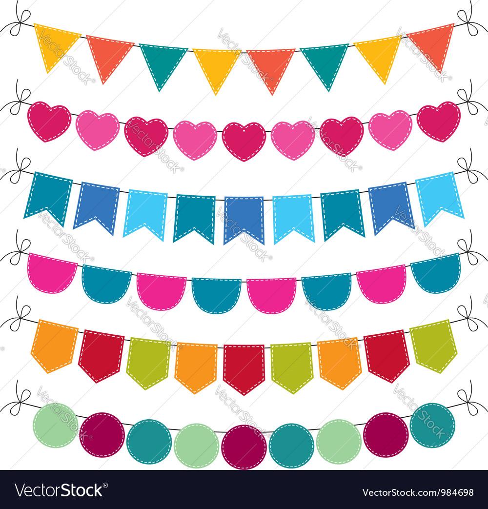 Cute bunting set vector image