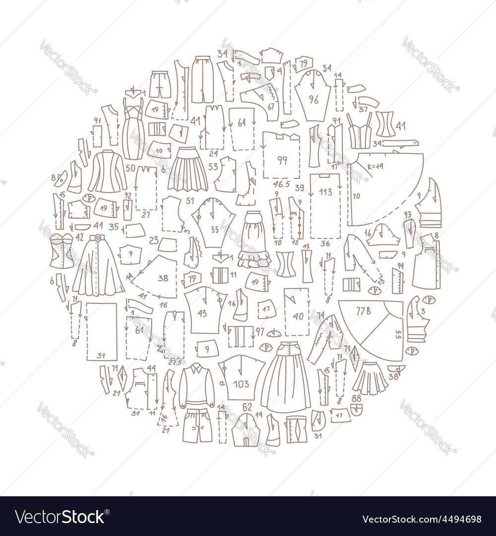 Hand drawn doodle frame with clothes vector image