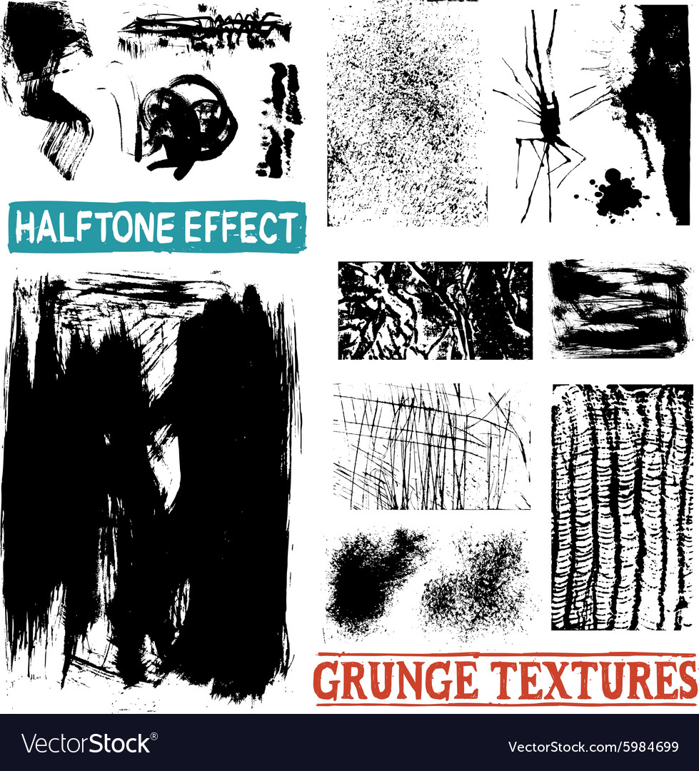 Grunge Halftone Drawing Textures vector image