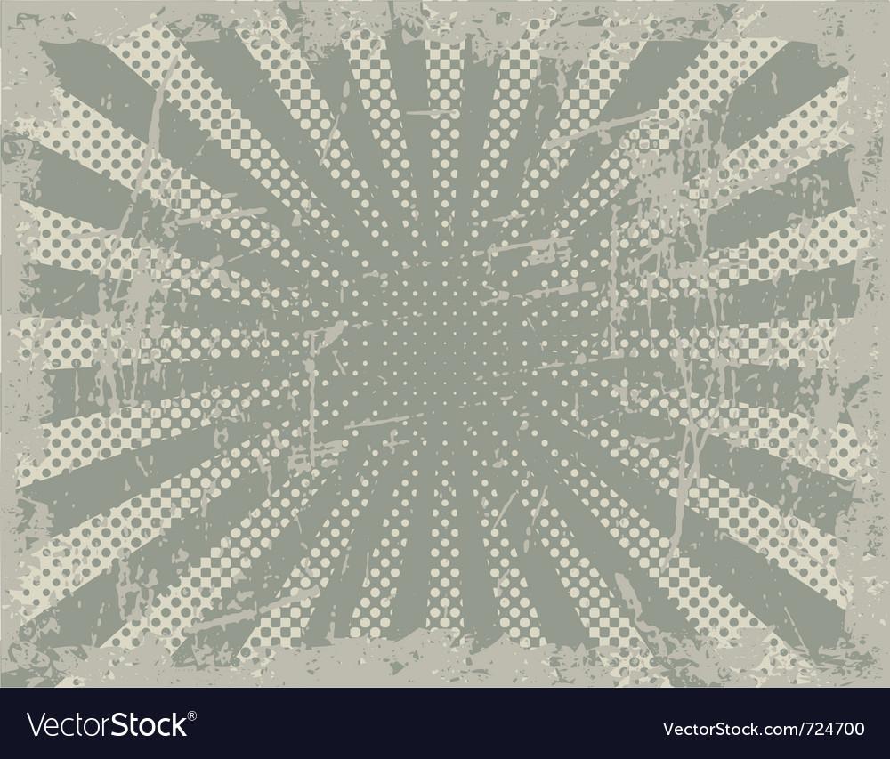 Grunge halftone rays vector image