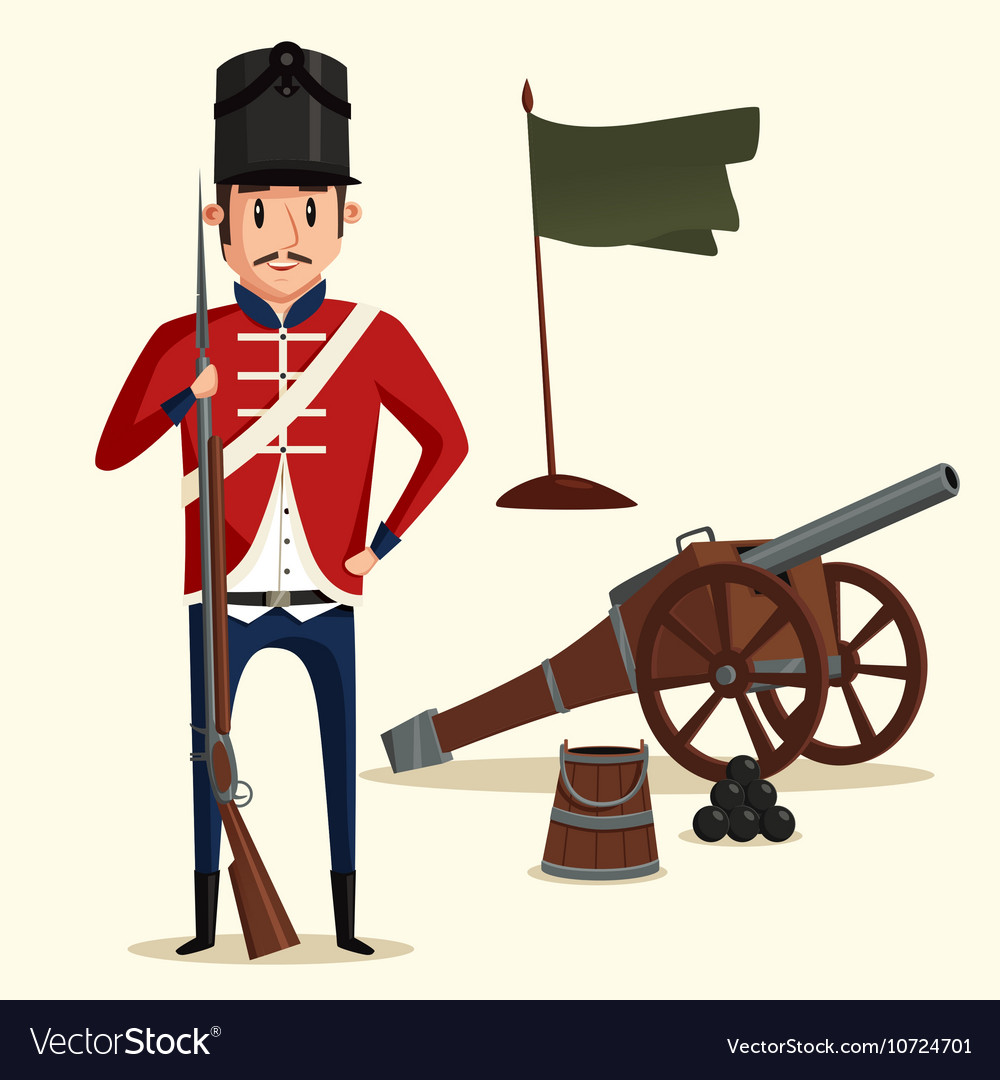 French army soldier with musket near cannon vector image