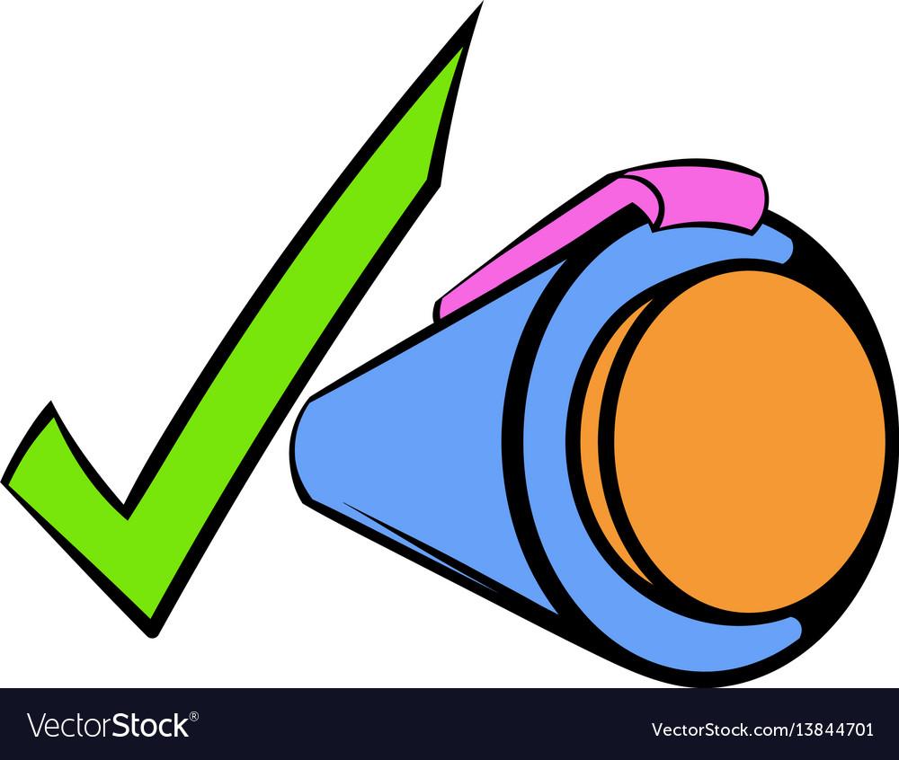 Pen and green checkmark icon cartoon vector image
