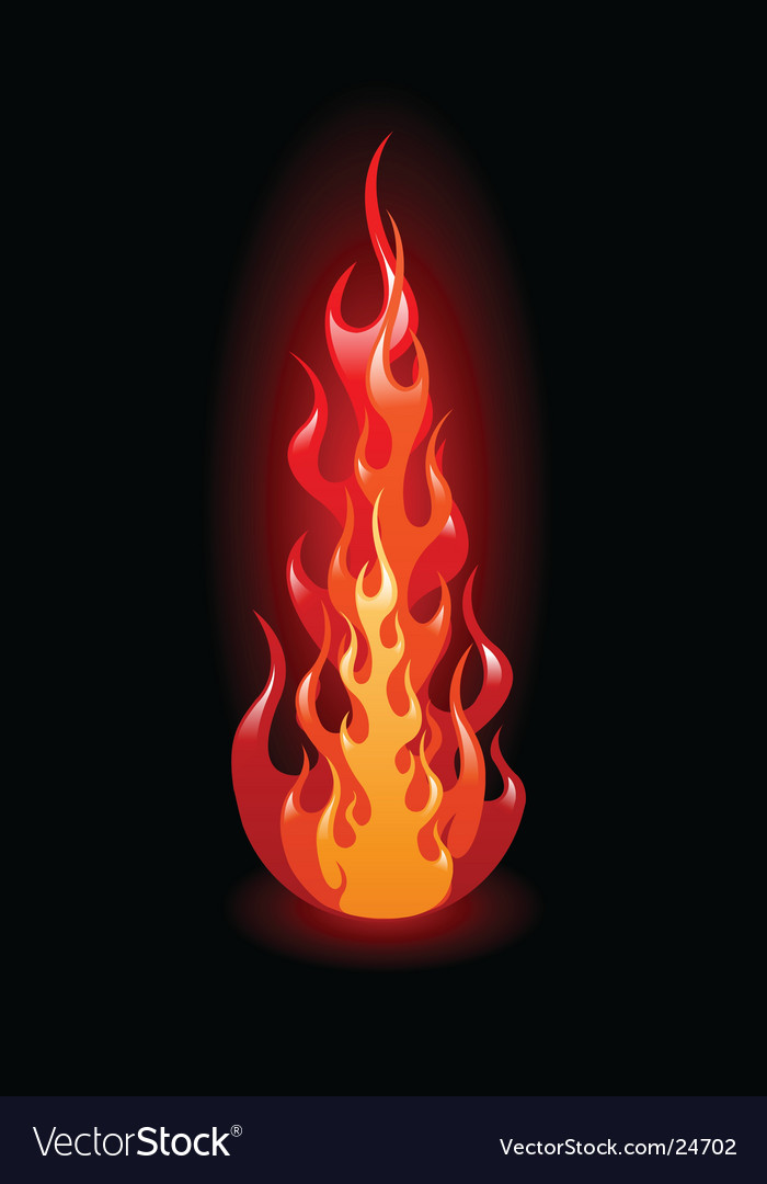 Flames on black background vector image