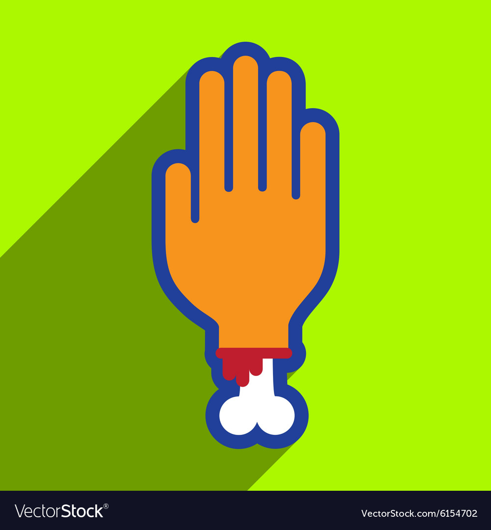 Flat with shadow icon and mobile application hand