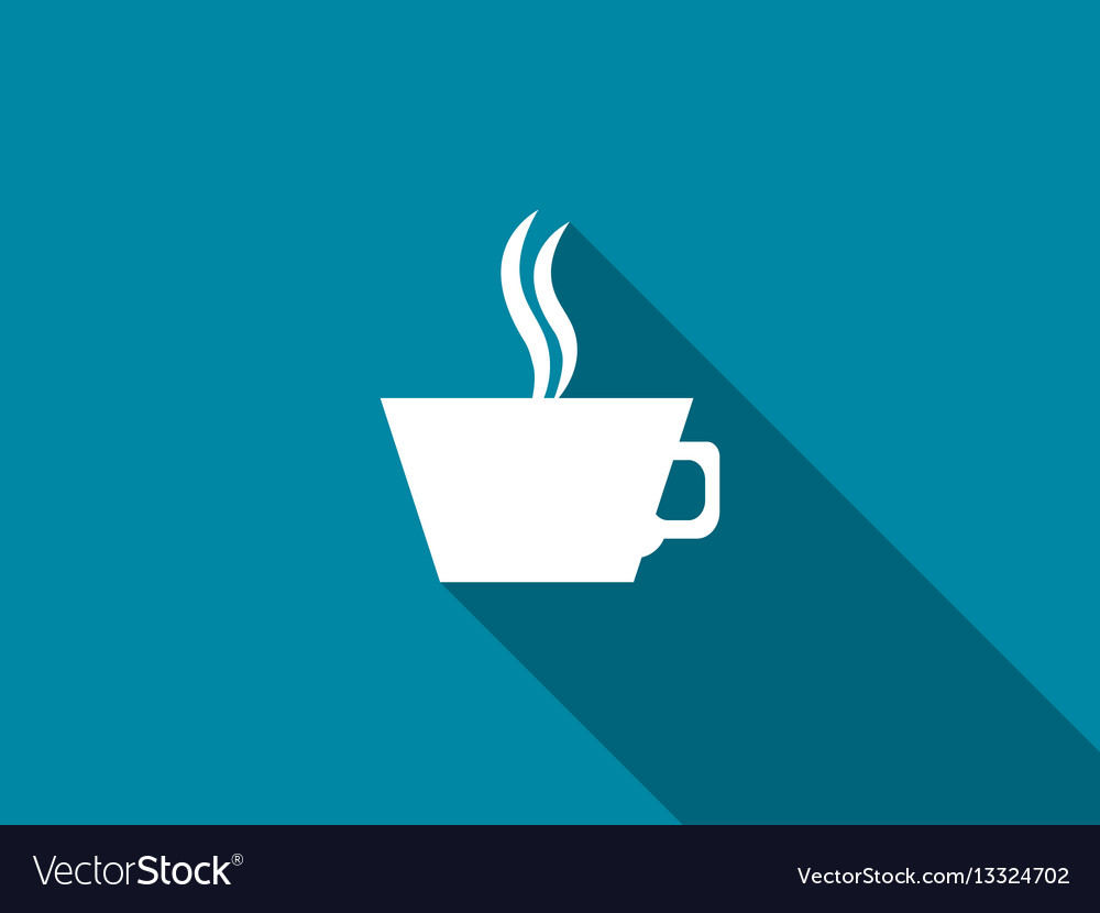 Cup of coffee with a long shadow vector image