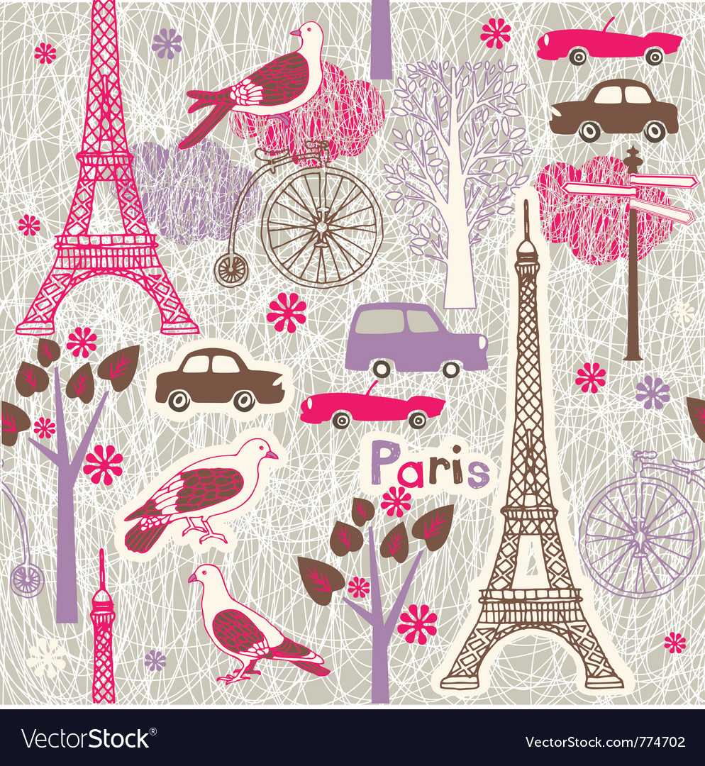 Paris vintage wallpaper vector image
