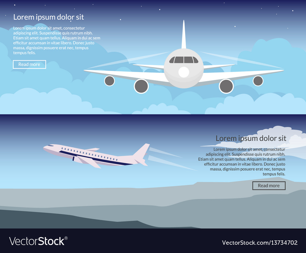 Travel on the plane set of banners in a flat style vector image