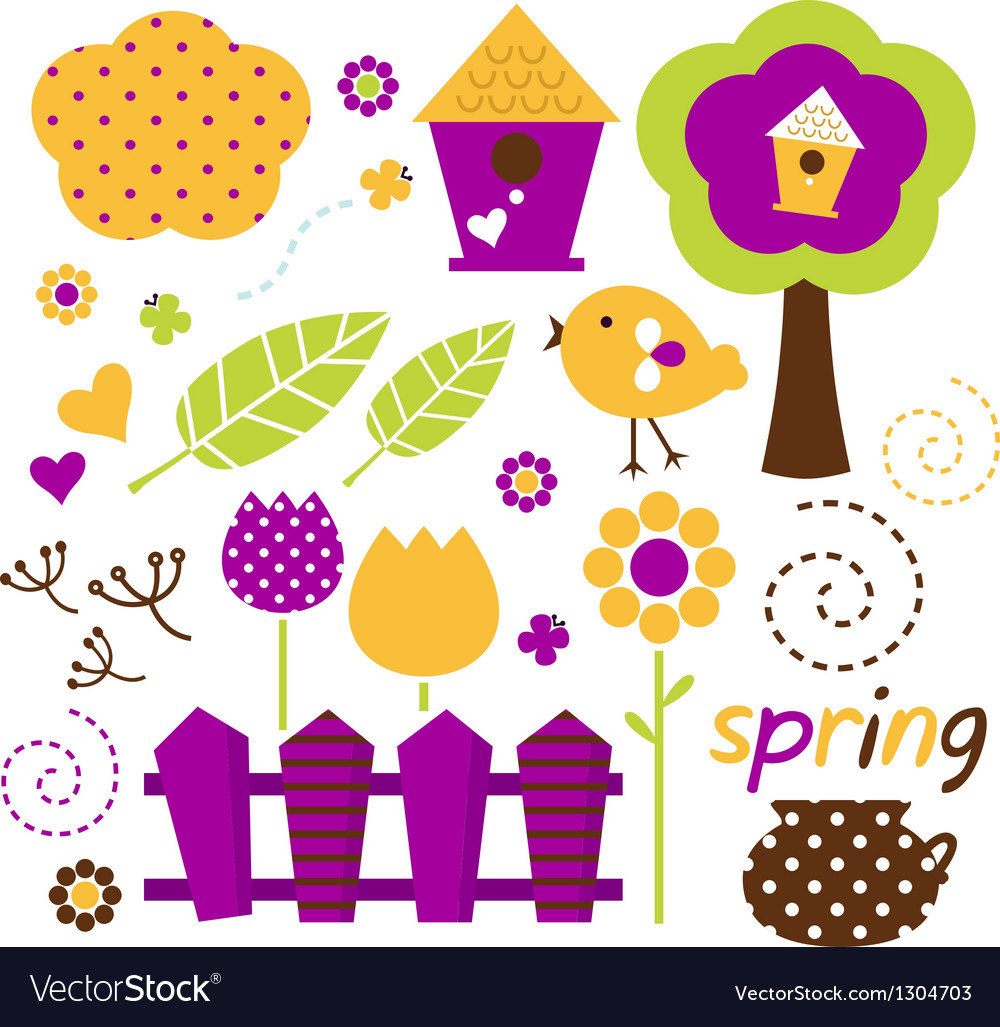 Cute spring garden set isolated on white vector image