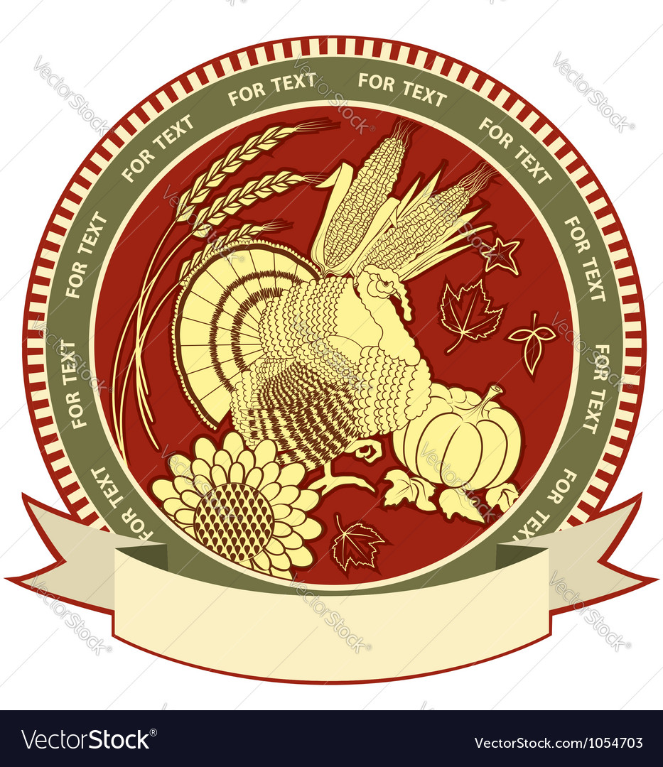 Thanksgiving symbol with holiday objects vector image