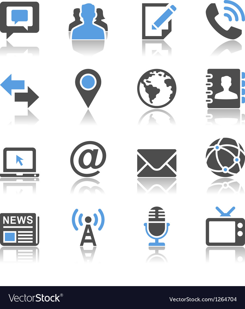 Media and communication icons reflection vector image