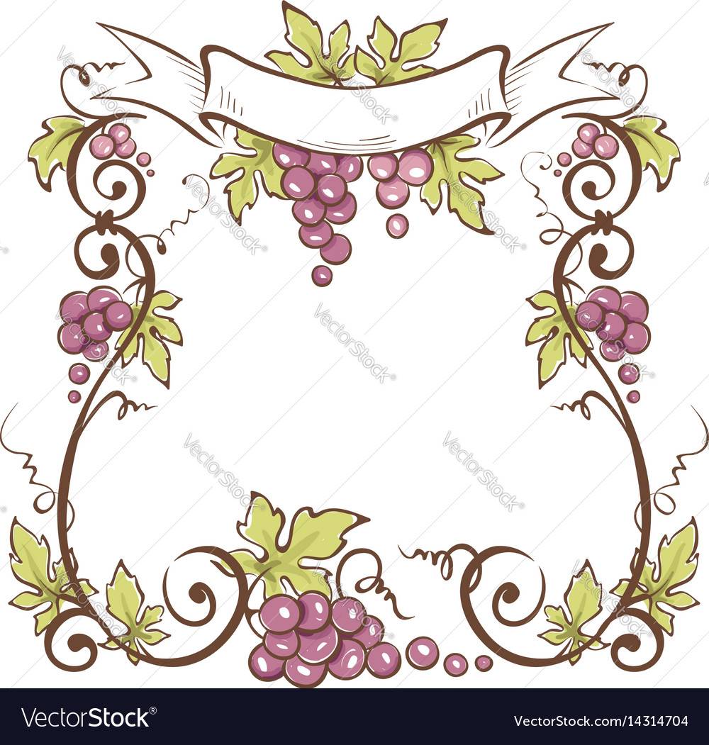 Frame from grapes vector image