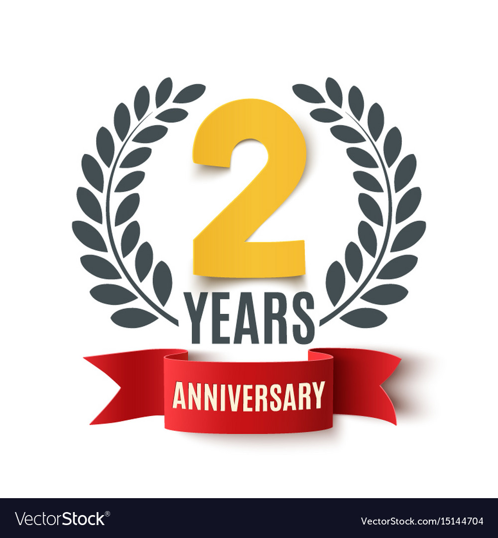 Two years anniversary design vector image